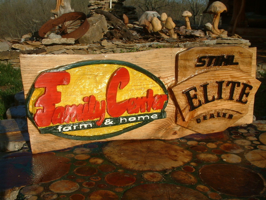 Chainsaw carved sign Stihl